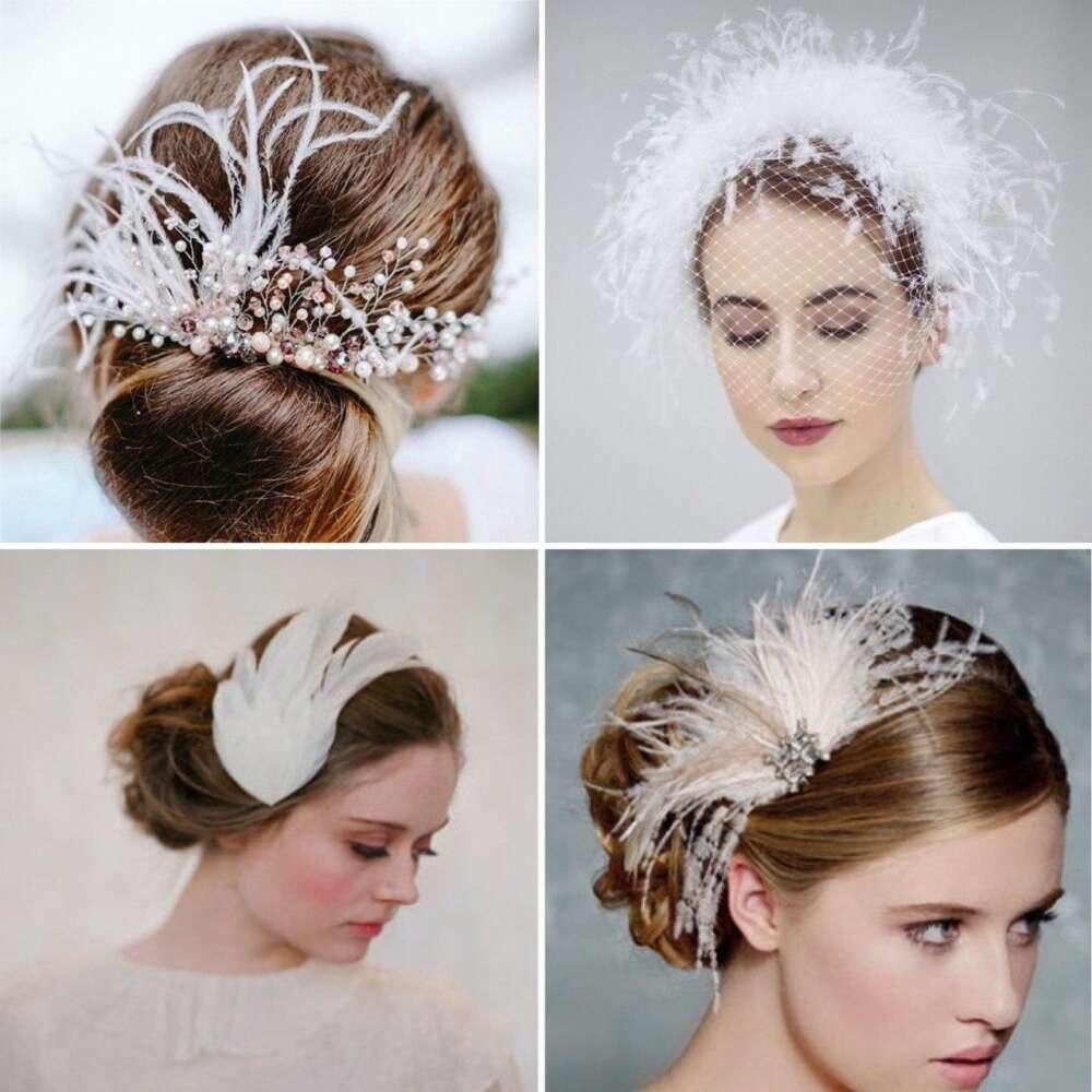 весільні прикраси на волосся з пір'ям (1)