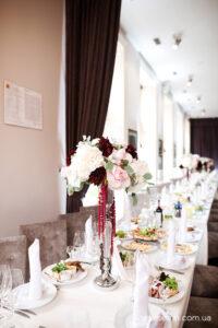 декор весільних столів ресторан Грушевський